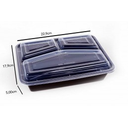 Boite Micro-ondes Noir 3 compartments avec couvercle x 300