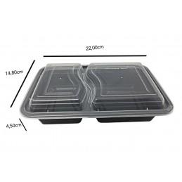 Boite Micro-ondes Noir 2 compartments avec couvercle x 300