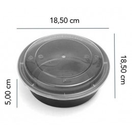 Boite Micro-ondes Noir Ronde 32oz avec couvercle x 400