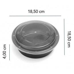 Boite Micro-ondes Noir Ronde 24oz avec couvercle x 400