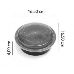 Boite Micro-ondes Noir Ronde 16oz avec couvercle x 300